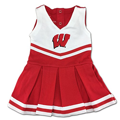 University of Wisconsin Badgers Newborn Baby Cheerleader Bodysuit Dress, Red, 0-3 (Baby Cheerleader Dress)