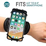 Wristband phone holder for iPhone X/iPhone 8 Plus/ 8/7 Plus/ 6 Plus/ 6, Galaxy S8/ S8 Pl us/ S7 Edge, Note 8 5, Google Pixel, 360° Rotatable with Key Holder Phone Sports Wristband Phone Holder