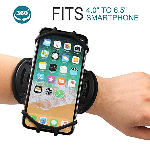 Wristband phone holder for iPhone X/iPhone 8 Plus/ 8/7 Plus/ 6 Plus/ 6, Galaxy S8/ S8 Pl us/ S7 Edge, Note 8 5, Google Pixel, 360° Rotatable with Key Holder Phone Sports Wristband Phone Holder by iRunme