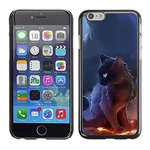 PIG - FOR iPhone 6 - Sorceress Witch Cat Smoke Art Black Fire - Dise???¡¯???€????€????¡Ào para el caso de la cubierta de pl??&