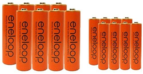 16 Eneloop Panasonic NiMH Pre-Charged Rechargeable Batteries 8 AA and 8 AAA, Orange