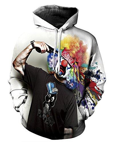 (QZUnique Causal Unisex Clown Printing Pullover Hoodie Lovers Sports Sweatshirt US)