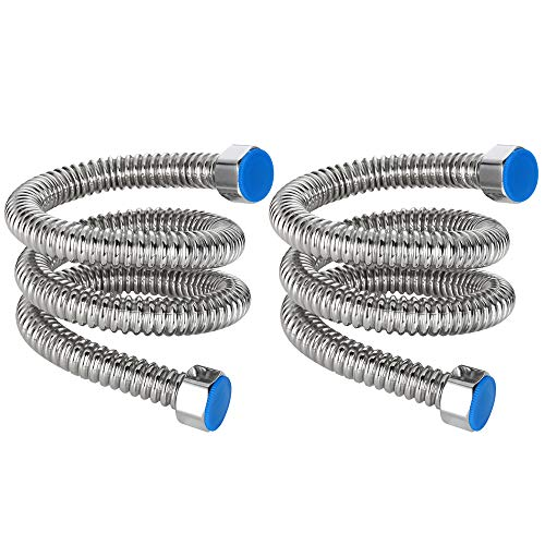 MyLifeUNIT Stainless Water Heater Hose, 1/2 Inch FIP 23.6 Inch Length Hot Water Heater Connector for Bathroom (2 Pack)