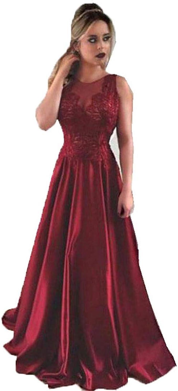 Weinrot Prom Kleider für Frauen A Linie Ärmelloses Abendkleid