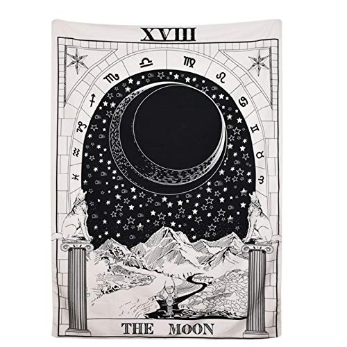 raajsee The Moon Tarot Tapestry- Sun Moon Star Mysterious Medieval Europe Divination Tapestries Wall Hanging - Indian Cotton Throw-Hippie Mandala,Boho Bedding Yoga Meditation 54x82 inches