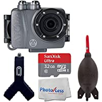 Intova DUB Photo & Video Action Camera (Graphite) - SanDisk Ultra 32GB microSDHC UHS-I Card + Giottos AA1900 Rocket Air Blaster Large + Dual USB Car Charger 1000mAh Port + Photo4Less Cleaning Cloth