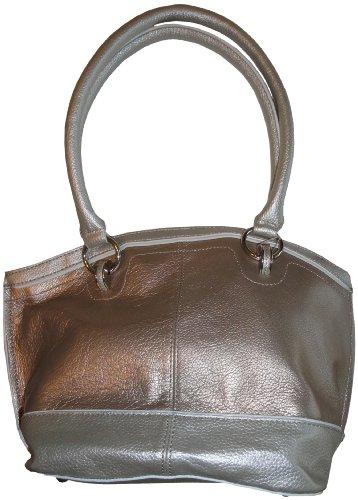 - Women's Tignanello Leather Purse Handbag Color Me Classy Dome Shopper Satin Metal/Plata