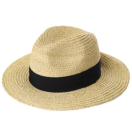 Mens Packable Black Ribbon Raffia Straw Fedora Panama Sun Summer Beach Hat Large Head Women Beige 56-59cm