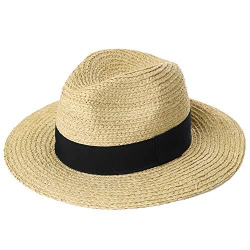 Mens Packable Black Ribbon Raffia Straw Fedora Panama Sun Summer Beach Hat Large Head Women Beige 56-59cm