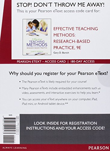 Effective Teaching Methods: Research-Based Practice with Enhanced Pearson eText with Video Analysis Tool -- Access Card Package (9th Edition)