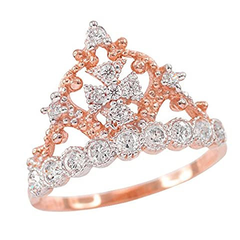 Dainty 10k Rose Gold Crown Cross CZ Band Ring (Size 7) (Religious Gold Crowns)
