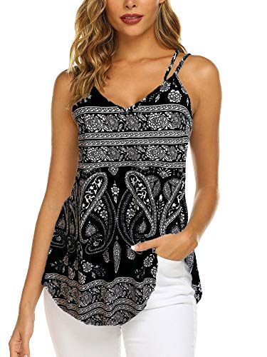 Casual Spaghetti Strap Floral Tank Tops for Women Loose Fit (Black, L) ()