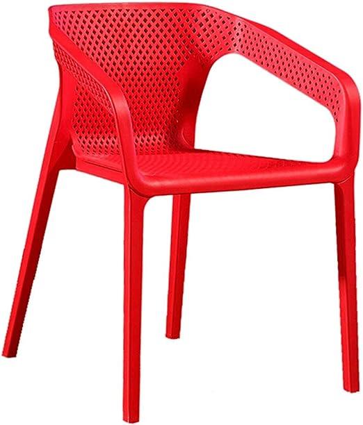 LXQGR Sillas de jardín apilables, Silla de plástico, Silla de café, Restaurante, Silla de negociación de Personalidad, Silla apilable (Color : Red): Amazon.es: Hogar