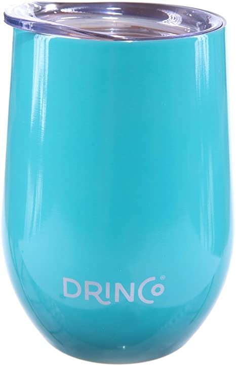 Drinco Stainless Steel Wine Glass Vacuum Insulated Tumbler With Lid 12 oz