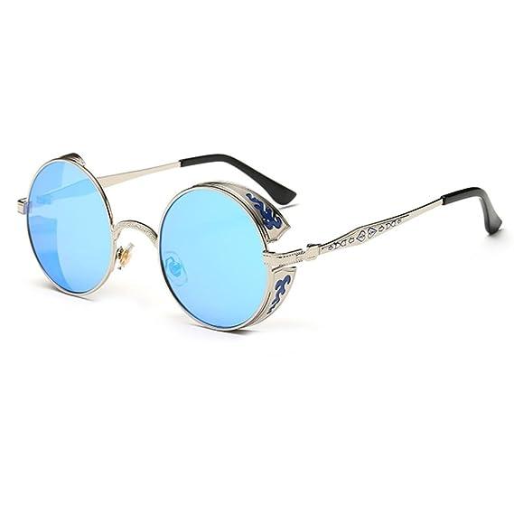 LHWY Femmes hommes été Vintage Retro lunettes de soleil ronde lunettes de soleil lunettes aviateur miroir lentille (Or, Rose)