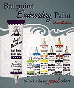Aunt Martha's Ballpoint 8-Pack Embroidery Paint, Jewel Colors
