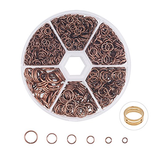 PandaHall Elite About 1745 Pcs Iron Open Jump Rings Chain Connector Diameter 4mm 5mm 6mm 7mm 8mm 10mm for Jewelry Findings Red Copper