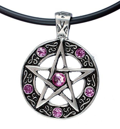 (exoticdream Color Star Pentagram Pentacle Pagan Wiccan Witch Gothic Pewter Pendant + 18