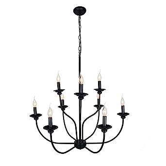 Baiwaiz Industrial Candle Chandelier Lighting 9 Light 2 Tier Metal Vintage Ceiling Pendant