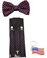 "Suspender & Bowtie ""Pink Polka dot"" Y-back Clip on Adjustable Free USA Keychain"