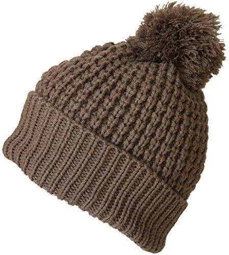 (KMystic Cuffed Pom Pom Thick Ski Beanie (Solid Brown))