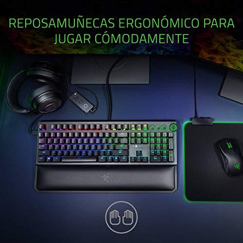 Razer Blackwidow Elite - Teclado mecánico para juegos (switch green clicky y táctil, tamaño completo, con controles multimedia y reposamuñecas,...