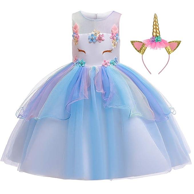 LZH Unicornio Vestido de Niñas Flor Partido Vestido De ...