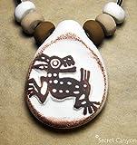 Coyote Design Aztec Mayan Mesoamerican Toltec Handmade Primitive Clay Pendant w/Beads