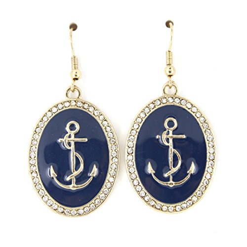 Simple Cool Gold-tone Navy Blue Oval Anchor Dangle Drop Earrings -