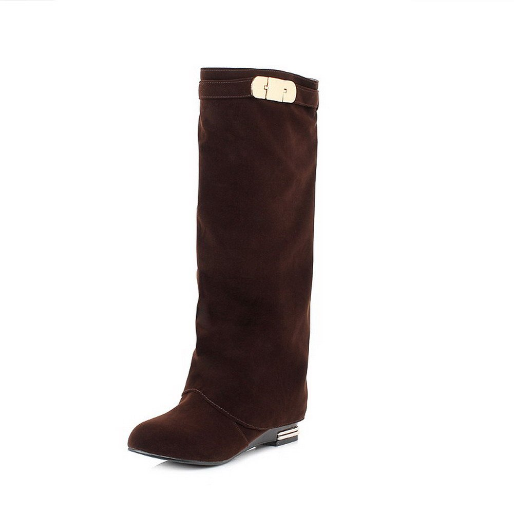 WeenFashion Women's Pull-on Low-Heels Flock Solid High-top Boots, Brown, 40