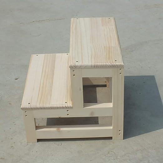 Taburete con escalera Escalera de madera de 2 peldaños, cocina Escaleras de madera Taburetes pequeños para los pies Taburete de madera con escalones para adultos y niños Escalera de interior Banco: Amazon.es: