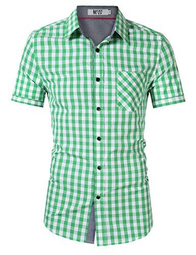MrWonder Men's Casual Fit Button Down Short Sleeve Plaid Dress Shirts Green XL - Dress Green Gingham