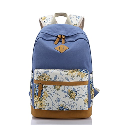 BOAOGOS Laptoprucksäcke Casual Tagesrucksäcke Floralen Drucken Frauen Schultasche Rucksack für Mädchen im Teenageralter Rucksäcke Canvas Kinder Schultasche Frauen Buch Taschen Blue JTrCaj