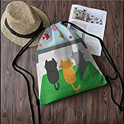 Cat Made of polyester fabric Cats Sitting on a Carpet and Looking at Cheerful Fish Tank Cat Family of Three Content Waterproof drawstring backpack W13.8 x L17.7 Inch Multicolor