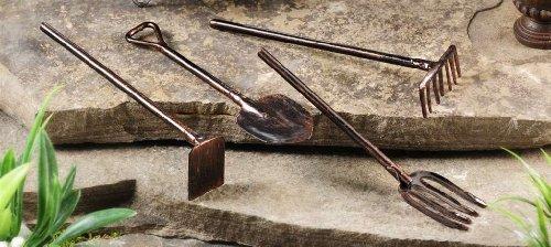 New Miniature Enchanted Mystical Fairy Garden Decor 4 Tools Rake Shovel Yard Art For Sale