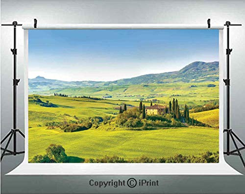 (Tuscan Photography Backdrops Rural Landscape Cypresses Along The Path to Ancient Vineyard Farm House,Birthday Party Background Customized Microfiber Photo Studio Props,10x10ft,Green and Light Blue)