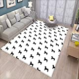 Dog Lover Floor Mat for Kids Monochrome Dachshund Silhouettes Breed Dog Domestic Canine Pattern Active Pet Bath Mat Non Slip Black White