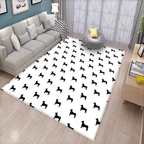 Dog Lover Bath Mats for Floors Monochrome Dachshund Silhouettes Breed Dog Domestic Canine Pattern Active Pet Door Mat Indoors Bathroom Mats Non Slip Black White