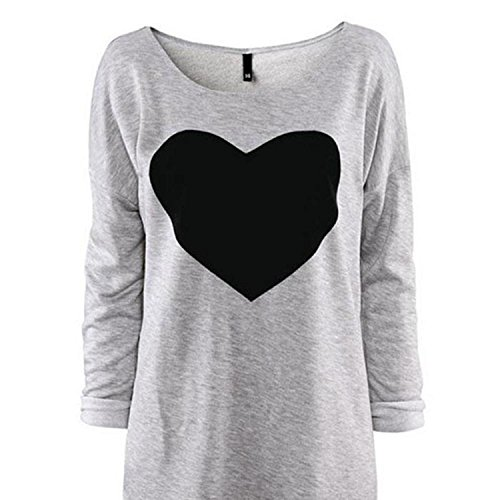 Springk Fashion Women Love Heart Printed Long Sleeved Round Neck T-Shirt Size 12,Gray