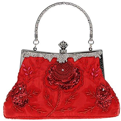Belsen Women's Vintage Beaded Sequin Evening Handbags (Red)