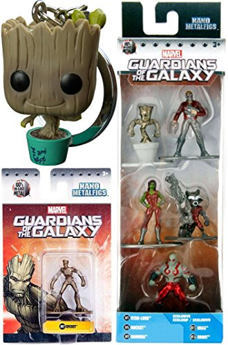 Marvel Guardians of the Galaxy Vol. 2 Groot Character Movie Exclusive Pocket Pop! Bobble Head Keychain + Metal Mini action Figures Set Rocket Raccoon Drax Star-Lord Gamora Collectible (Black Widow Iron Man 2 Costume)