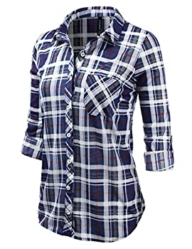 Jj Perfection Womens Plaid Collared Full Button Down Rollable 34 Sleeve Shirt Navygrey 3xl 1