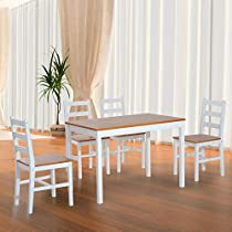 Festnight 5 Piece Wood Table Dining Set with 4 High Back Chairs Home Kitchen Solid Pine Wood