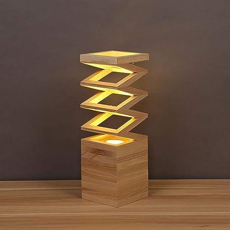 Lámpara de sobremesa y mesa de madera Lámpara de mesa ...