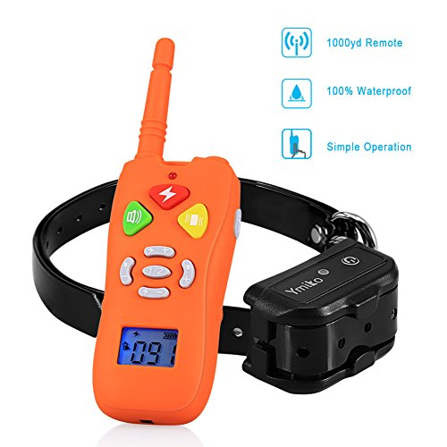 Dog Training Collar, Ymiko 1000ft 100% Waterproof Rechargeable Dog Shock Collar Remote Transmitter with Beep/Vibrating/Shock Electric Mode for All Sizes Dogs(Orange)