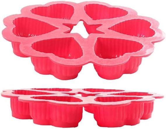 DLY Silikon-Kuchen-Form-Herz-Geformte Hochtemperaturbest/ändige Mikrowelle Backform Werkzeuge Zuf/ällige Farbe 1PC