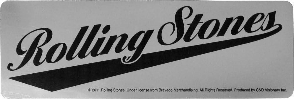 Rolling Stones Black Logo on Shiny Chrome Baseball Style Sticker Decal