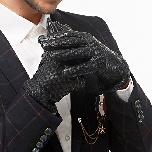 Nappaglo Men's Genuine Nappa Leather Gloves Touchscreen Hand-knitted Winter Warm Driving Cycling Mittens (XXL (Palm Girth:9.5''-10''), Black (Touchscreen)) by Nappaglo (Image #2)
