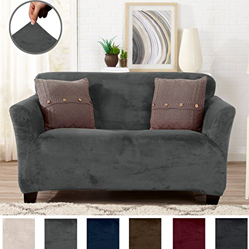 (Great Bay Home Modern Velvet Plush Strapless Slipcover. Form Fit Stretch, Stylish Furniture Cover/Protector. Gale Collection Brand. (Loveseat, Wild Dove Grey))