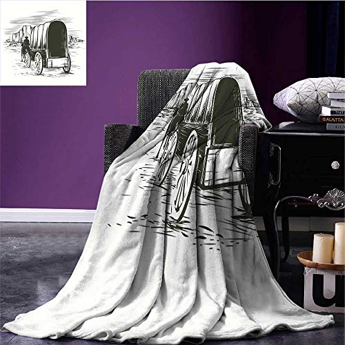 (RenteriaDecor Western Microfiber All Season Blanket Old Traditional Wagon Wild West Prairies Pioneer on Horse Transportation Cart Blanket as Bedspread Black and White Bed or Couch 70